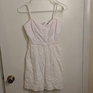 White dress with bodice laced detail